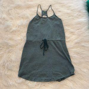 LOU & GREY LINEN BLEND GREEN/WHT STRIPED DRESS